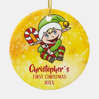 Ornement Rond En Céramique Jaune de sucre de canne d'Elf de Noël du ` s