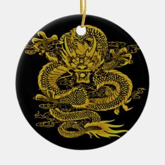 Ornement Rond En Céramique Jaune épique de dragon
