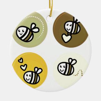 Ornement Rond En Céramique Jaune merveilleux d'abeilles de vol
