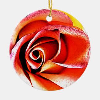 Ornement Rond En Céramique Jaune orange de fleur de fleur florale de pétales