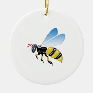 Ornement Rond En Céramique jaunes 3D et noirs brillants gaffent l'abeille