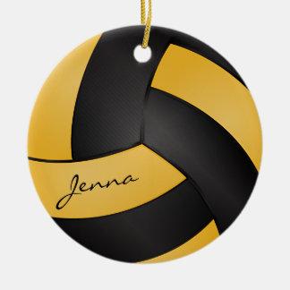 Ornement Rond En Céramique Jaunes et noirs d'or personnalisent le volleyball