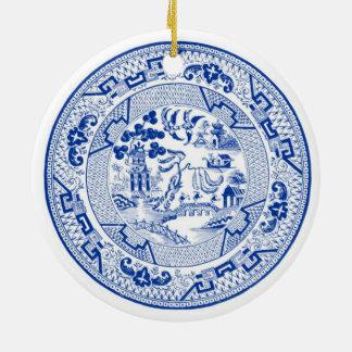 Ornement Rond En Céramique Je rêve de Noël blanc d'a (bleu et)