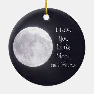 Ornement Rond En Céramique Je t'aime à la lune et à l'ornement arrière