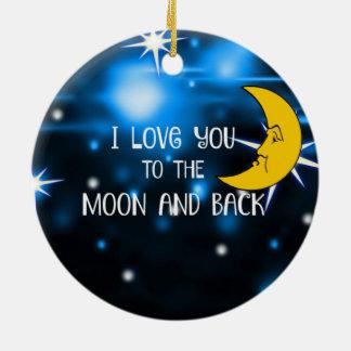 Ornement Rond En Céramique Je t'aime à la lune et au dos--Ciel étoilé