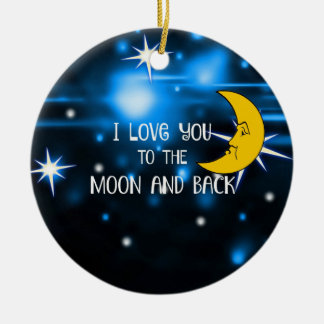Ornement Rond En Céramique Je t'aime à la lune et au dos, conception colorée