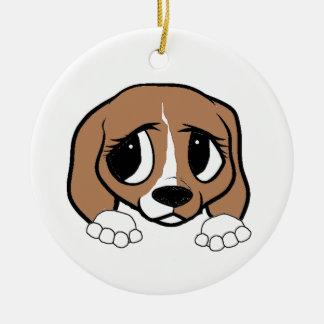 Ornement Rond En Céramique jeter un coup d'oeil blanc bronzage de beagle