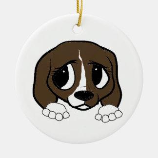 Ornement Rond En Céramique jeter un coup d'oeil blanc de brun foncé de beagle