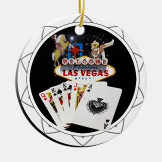 Ornement Rond En Céramique Jeton de poker de noir de signe bienvenu