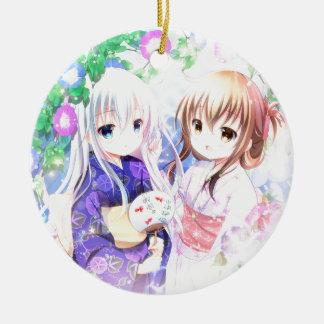 Ornement Rond En Céramique Jeunes filles dans Yukata