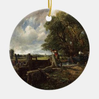 Ornement Rond En Céramique John Constable - la serrure - paysage de campagne