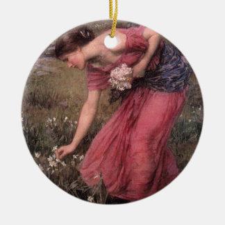 Ornement Rond En Céramique John William Waterhouse - narcisse - beaux-arts