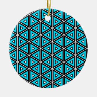 Ornement Rond En Céramique Jolis blanc, noir et motif carrés de turquoise