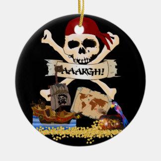 Ornement Rond En Céramique Jolly roger, bateau de pirate et coffre du pirate