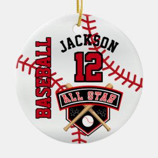 Ornement Rond En Céramique Joueur de baseball d'All Star