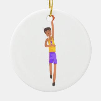 Ornement Rond En Céramique Joueur de basket avec l'autocollant d'action de