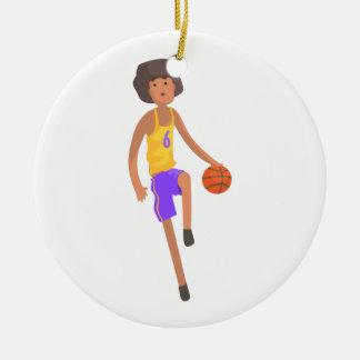 Ornement Rond En Céramique Joueur de basket fonctionnant avec l'autocollant