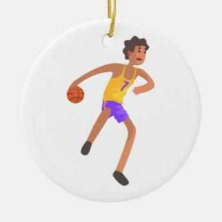 Ornement Rond En Céramique Joueur de basket passant l'autocollant d'action de