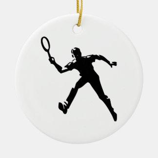 Ornement Rond En Céramique Joueur de tennis