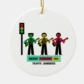 Ornement Rond En Céramique Joueurs de guitare déprimés de moustache de trio