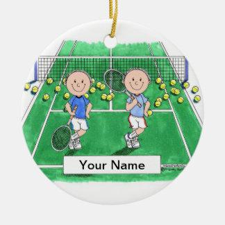 Ornement Rond En Céramique Joueurs de tennis - mâle et mâle