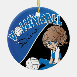 Ornement Rond En Céramique Joueuse de fille de diva de volleyball dans le