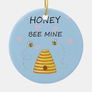 Ornement Rond En Céramique Jour de Valentines de mine d'abeille