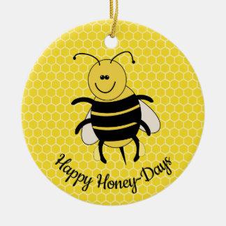 Ornement Rond En Céramique Jours heureux de miel de miel d'abeille d'ornement