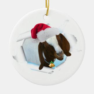 Ornement Rond En Céramique Joyeuse chèvre de Noël de pays avec le casquette