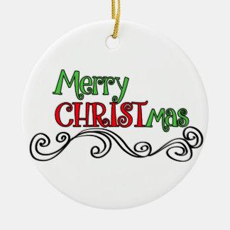 Ornement Rond En Céramique Joyeux Noël