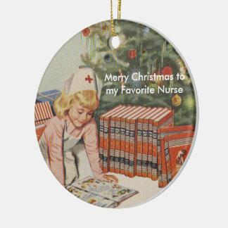 Ornement Rond En Céramique Joyeux Noël à mon infirmière préférée - rétro