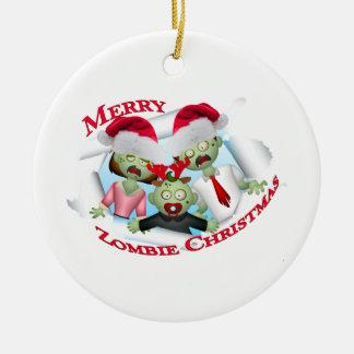 Ornement Rond En Céramique Joyeux Noël de famille de zombi