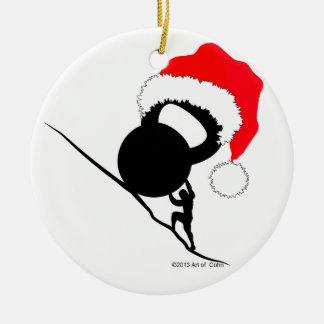Ornement Rond En Céramique Joyeux Noël de Sisyphus Kettlebell