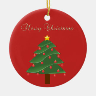 Ornement Rond En Céramique Joyeux Noël d'or adorable de Faux, arbre de Noël
