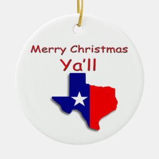 Ornement Rond En Céramique Joyeux Noël d'ornement du Texas
