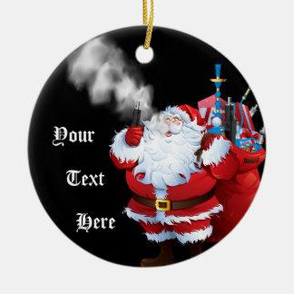 Ornement Rond En Céramique Joyeux Vaping Noël le père noël Vaping de VAPE |