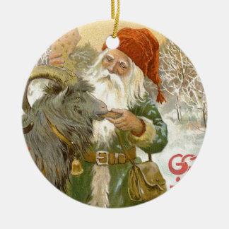 Ornement Rond En Céramique Jultomten alimente à chèvre de Noël un biscuit