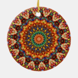 Ornement Rond En Céramique Kaléidoscope doux et coloré de mandala de bonbon