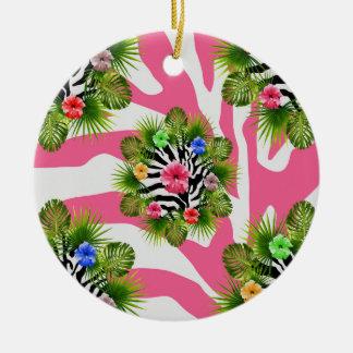 Ornement Rond En Céramique Ketmie tropicale et rayures roses exotiques de