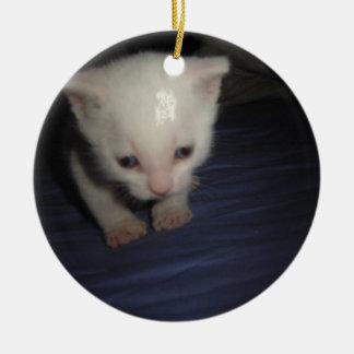 Ornement Rond En Céramique Kitten white furax
