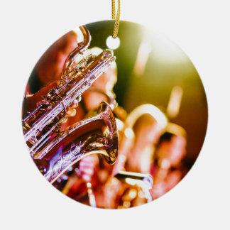 Ornement Rond En Céramique Klaxons de saxophones d'instruments de musique de