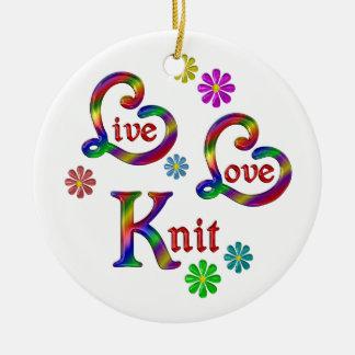 Ornement Rond En Céramique Knit vivant d'amour