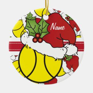 Ornement Rond En Céramique La balle de tennis | de Noël personnalisent