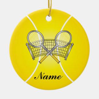 Ornement Rond En Céramique La balle de tennis jaune personnalisent