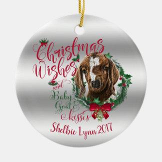 Ornement Rond En Céramique La chèvre de bébé de souhaits de Noël de la CHÈVRE