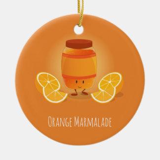 Ornement Rond En Céramique La confiture d'oranges de sourire bloquent