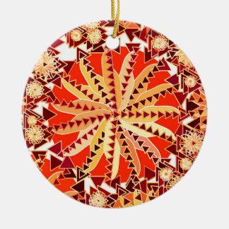 Ornement Rond En Céramique La copie tribale de mandala, se rouillent orange