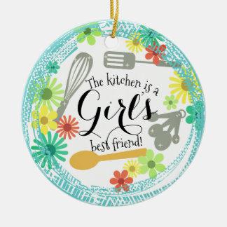 Ornement Rond En Céramique La cuisine est l'ornement de Noël du meilleur ami