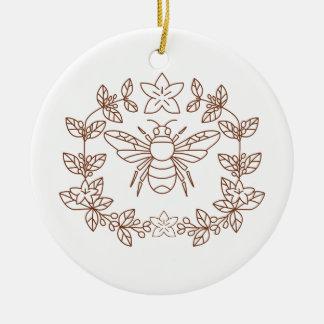 Ornement Rond En Céramique La fleur de café de bourdon part de l'icône