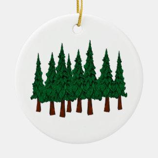 Ornement Rond En Céramique La forêt à feuillage persistant